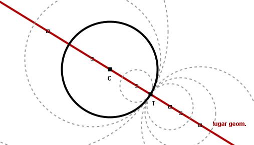 Circunferencias tangentes conocido el punto de tangencia for Definicion exterior
